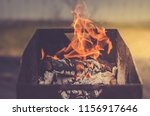 burning brazier with firewood... | Shutterstock . vector #1156917646
