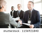 group of coworkers and man with ... | Shutterstock . vector #1156921840