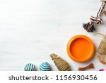 Stock photo flat lay composition with accessories for dog and cat on wooden background pet care 1156930456