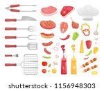 bbq set  barbecue equipment and ... | Shutterstock .eps vector #1156948303