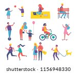 people walking  playing and... | Shutterstock .eps vector #1156948330