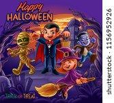 halloween horror scene | Shutterstock .eps vector #1156952926