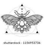black and white butterfly over... | Shutterstock .eps vector #1156953736