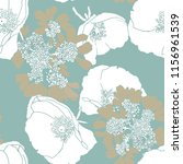 white poppies and beige flowers ...   Shutterstock . vector #1156961539