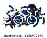 triathlon race with digital... | Shutterstock .eps vector #1156971190