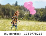 cheerful kid with pink balloons ... | Shutterstock . vector #1156978213