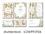 wedding card templates set with ... | Shutterstock .eps vector #1156991926