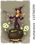 halloween witch cooking | Shutterstock .eps vector #115700290