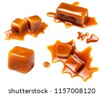 flowing caramel sauce isolated...   Shutterstock . vector #1157008120