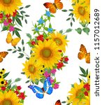 seamless floral pattern. blue... | Shutterstock . vector #1157012689