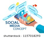 the concept of social media... | Shutterstock .eps vector #1157018293