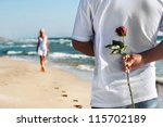 Loving Couple   Man With Rose...