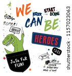cool dinosaur inside pocket... | Shutterstock .eps vector #1157023063
