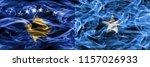 kosovo vs somalia smoke flags... | Shutterstock . vector #1157026933
