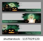 set of three halloween green... | Shutterstock .eps vector #1157029120