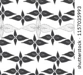 monochrome floral pattern with... | Shutterstock .eps vector #1157035993