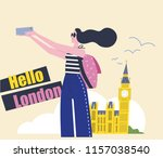 young woman making a selfie in...   Shutterstock .eps vector #1157038540
