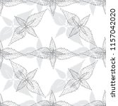 monochrome floral pattern with... | Shutterstock .eps vector #1157042020
