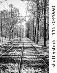 old train lines black white... | Shutterstock . vector #1157044660