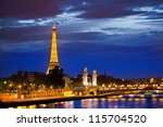 paris   october 1  eiffel tower ... | Shutterstock . vector #115704520