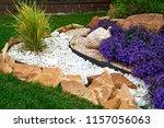 garden design. flowerbed in the ... | Shutterstock . vector #1157056063