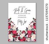 watercolor red burgundy rose... | Shutterstock .eps vector #1157059270