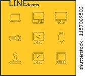 illustration of 9 laptop icons... | Shutterstock . vector #1157069503