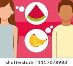 man and woman talking of fruits ... | Shutterstock .eps vector #1157078983