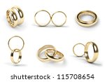 set of gold wedding rings... | Shutterstock . vector #115708654