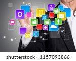 businessman touching global... | Shutterstock . vector #1157093866