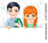 cute red haired girl in green... | Shutterstock .eps vector #1157100463