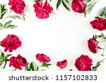 Stock photo frame made of beautiful red peonies on white background flat lay top view valentine s background 1157102833