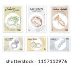 autumn vegetables  post stamps... | Shutterstock .eps vector #1157112976