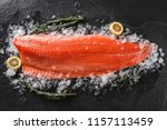 fresh raw salmon fish steak... | Shutterstock . vector #1157113459