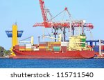 container stack and ship under... | Shutterstock . vector #115711540