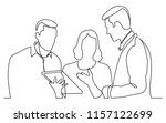 continuous line drawing of team ... | Shutterstock .eps vector #1157122699