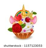 cupcake unicorn horn  rainbow ... | Shutterstock .eps vector #1157123053