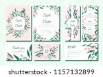 floral wedding invite with... | Shutterstock .eps vector #1157132899