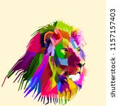 Stock vector colorful lion head on pop art style 1157157403
