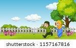 a muslim couple at the garden... | Shutterstock .eps vector #1157167816