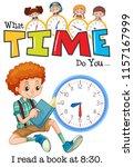 a boy reading book at 8 30... | Shutterstock .eps vector #1157167999