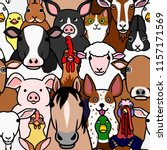 seamless doodle farm animals... | Shutterstock .eps vector #1157171569