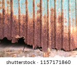 rusty corrugated metal sheet... | Shutterstock . vector #1157171860