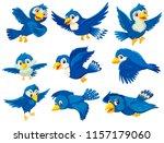 A Set Of Blue Bird Illustration