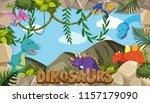 a frame of dinosaurs... | Shutterstock .eps vector #1157179090