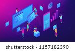 isometric it team working with... | Shutterstock .eps vector #1157182390