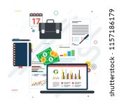 report with investment data and ... | Shutterstock .eps vector #1157186179