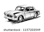 vintage car. ink black and... | Shutterstock . vector #1157203549