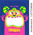 cartoon scary monster. vector... | Shutterstock .eps vector #1157218606