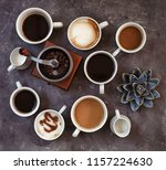 cups of fresh aromatic coffee...   Shutterstock . vector #1157224630
